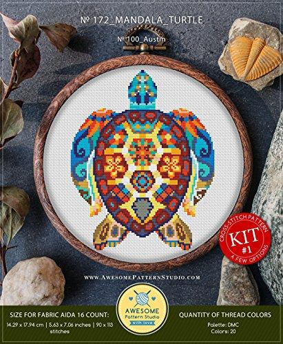 Mandala Turtle #K172 Embroidery Cross Stitch Kit | Stitching | How to Cross Stitch | Funny Animals Cross Stitch Designs | Stitch Design | Cross Designs ()