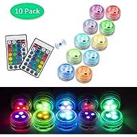 10pcs Luces LED Sumergibles con Control Remoto, Mini