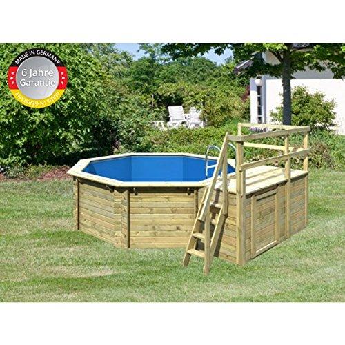 Paradies Pool GmbH Madera Pool 4, 00 x 1, 20 m, incluye sol Deck y adicional alas/pantalla 0, 6 mm adriablau/tiefbec Ken Escalera Acero ...