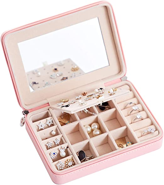 NEW JEWELLERY BOX CASE RING HOLDER STORAGE ORGANIZER FAUX LEATHER COMPARTMENTS