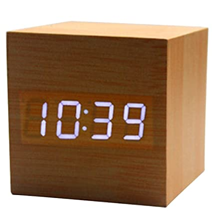 KINDOYO Cubo de control de sonido de visualización de madera moderno LED Digital Despertador de escritorio