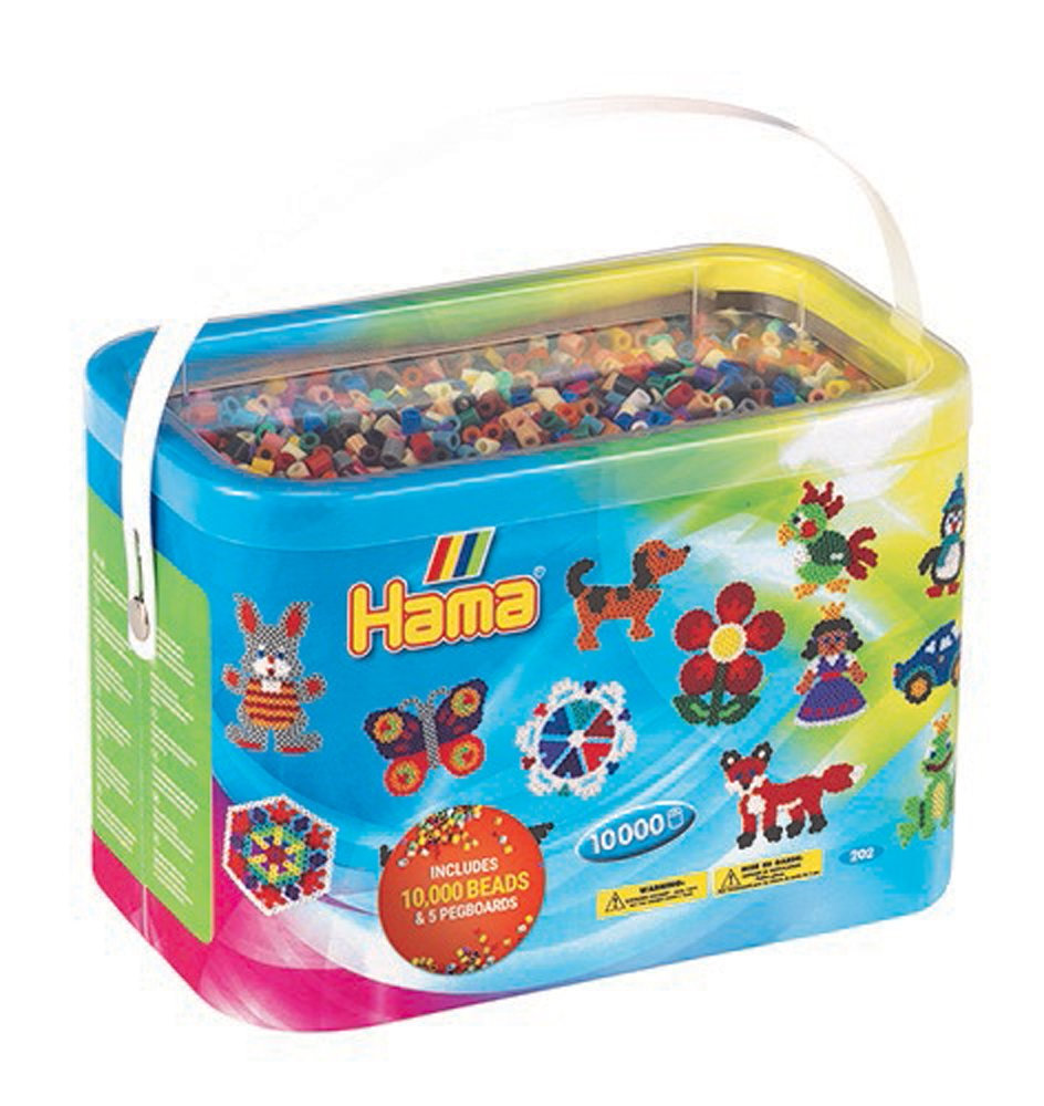 Hama Beads 10,000 Beads and 5 Pegboards Tub 10.202-67DE