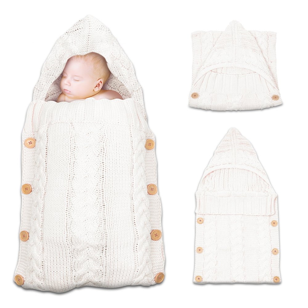 Amazon.com  Onshine Newborn Baby Swaddle Blanket Large Swaddle Soft Knit  Sleeping Bag Sleep Sack Stroller Wrap Unisex for Boys or Girls (White)  Baby fe892588a