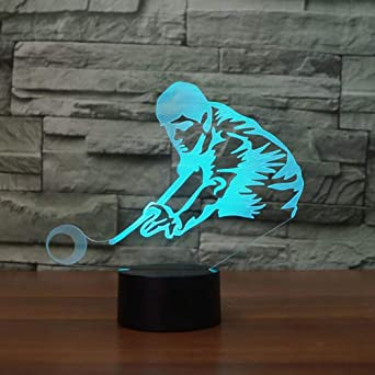 Lámpara de mesa LED de luz nocturna 3D jugando billar pool snooker ...