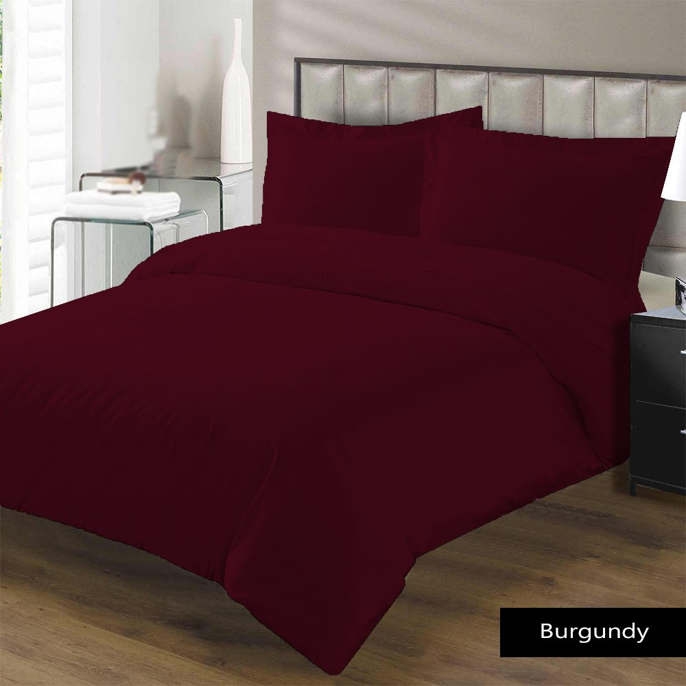 1-Piece Flat Sheet/ Top Sheet California King Size Burgundy Solid -400 Thread Count 100% Egyptian Cotton for Maximum Comfort Made by American Linen.