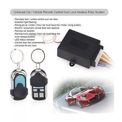 Kit universal de seguridad antirrobo para coche Erisin ES165R, sistema de entrada inalámbrico e inmovilizador sin llave, cierre centralizado con mando ...