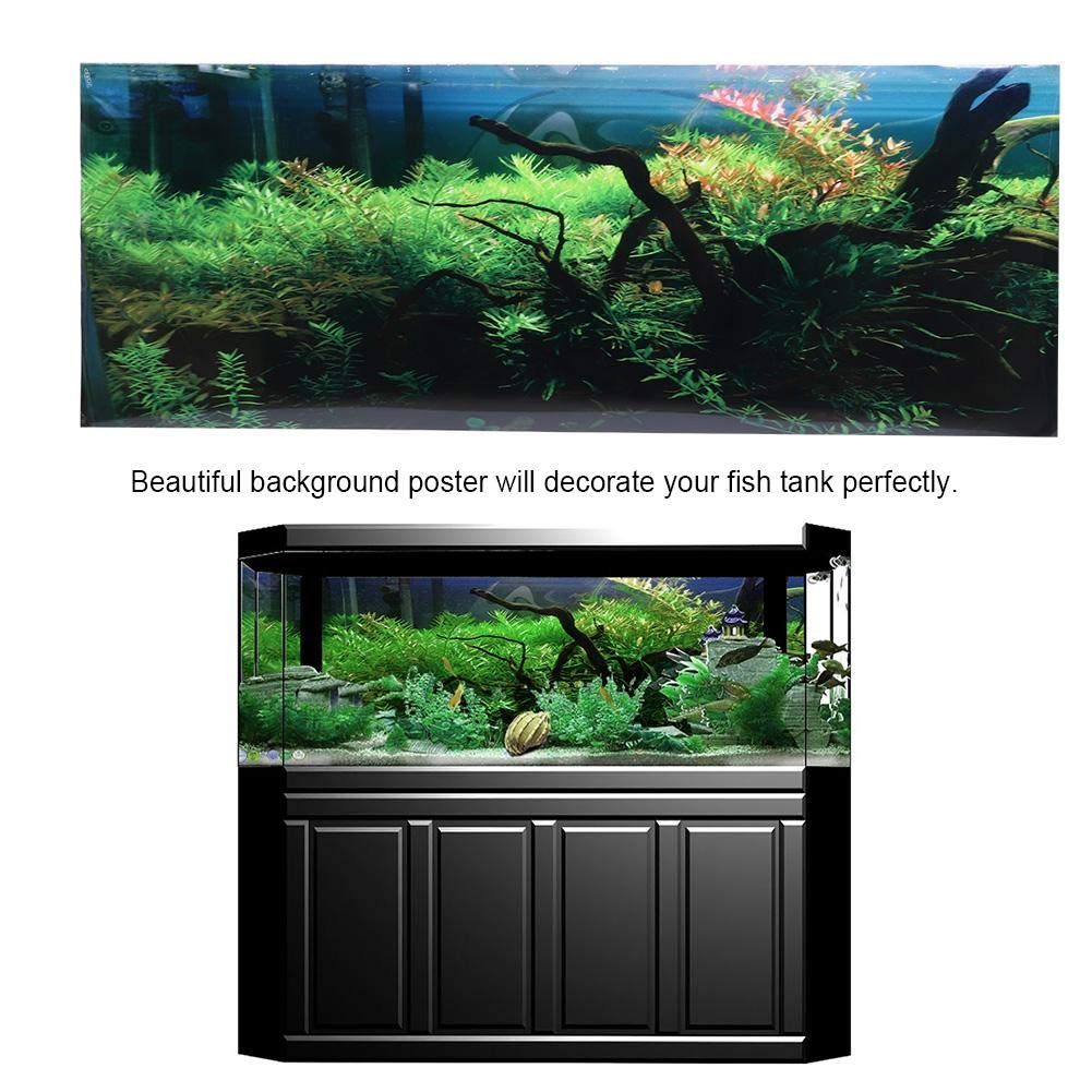 Hffheer Aquarium Background Sticker Fish Tank Backdrop Adhesive Wallpaper Water Grass Landscape Poster High Definition PVC Sticker