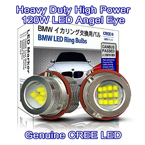 Heavy Duty 120W CREE LED Light Bulb BMW Angel Eyes DRL Marker Light True White 7000K E39 M5 E60 E61 E53 E87 E63 E64 E65 E66 E67 E83 (pack of 2)