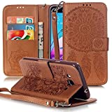 Galaxy J3 Case, Galaxy Amp Prime Case, Galaxy Express Prime Case, Galaxy Sol Case, JanCalm [Wrist Strap] Premium PU Leather [Multi Card/Cash Slots] STAND Flip Cover With pen (Brown)