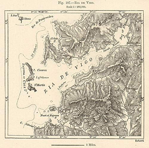 Ria de Vigo. España. Mapa de Bosquejo 1885 - Mapa Antiguo Vintage ...