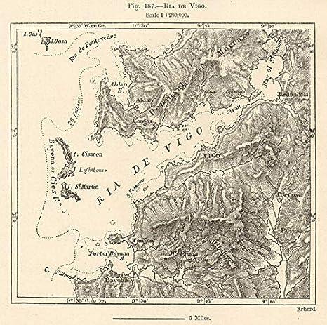 Ria de Vigo. España. Mapa de Bosquejo 1885 - Mapa Antiguo Vintage - Mapas Impresos de España: Amazon.es: Hogar