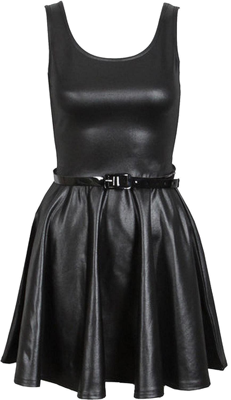 New Womens Plus Size Shinny Wetlook PVC Skirts Tops Dress (XL-2X)