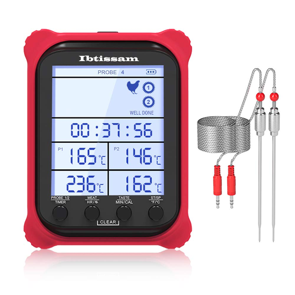 Digital Grill Thermometer with Dual Probe Meat Thermometer with Clock Timer & LCD 3.6