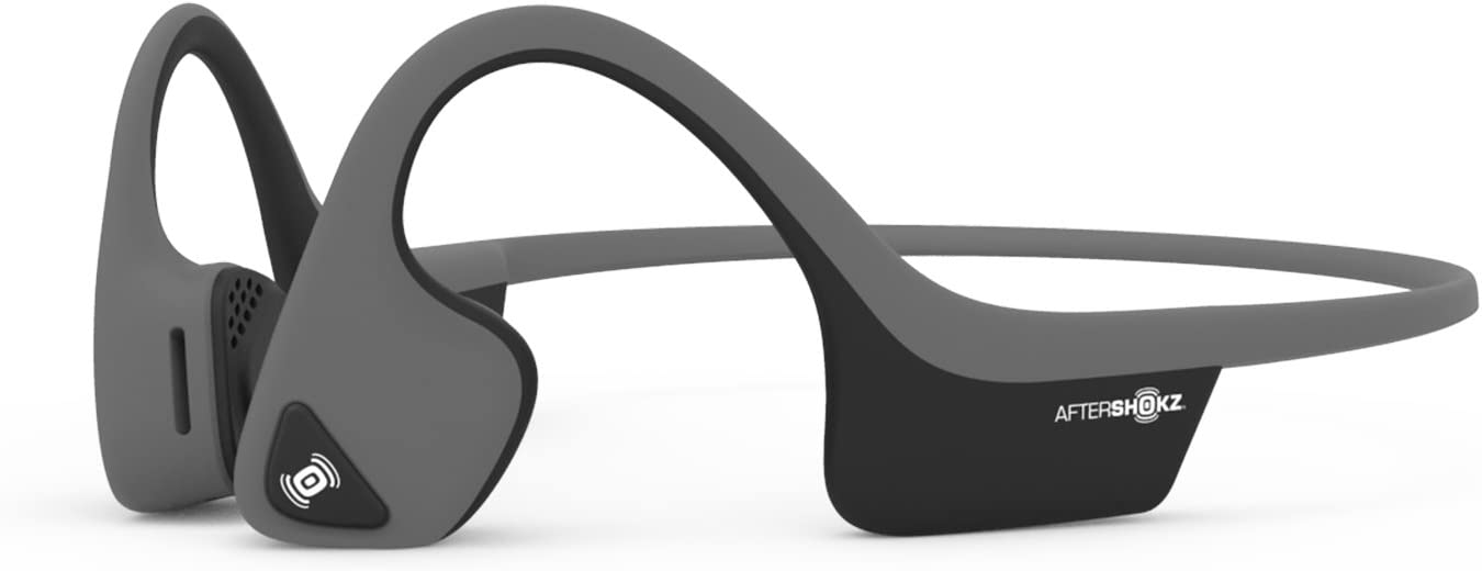 AfterShokz Air Open-Ear Wireless Bone Conduction Headphones with Brilliant Reflective Strips, Slate Grey, AS650SG-BR