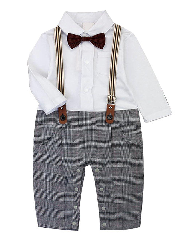 Scothen Barboteuse manches courtes coverall tenues Bow Tie Infant Creeper Infant Creeper Hommes né bébé baptême Mariage Noël Bodysuit Romper Outfit (0-24M) YADT165