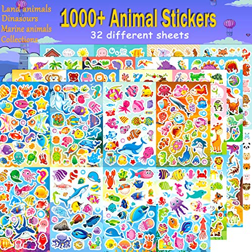 Cute Stickers for kids, 1000+ Cartoon animal sticker collection including Dinosaur , Animals, Fishes, Birds, Insects, Laptop, Water Bottle Computer Notebook,largre size 32 different sheets,4 themes -