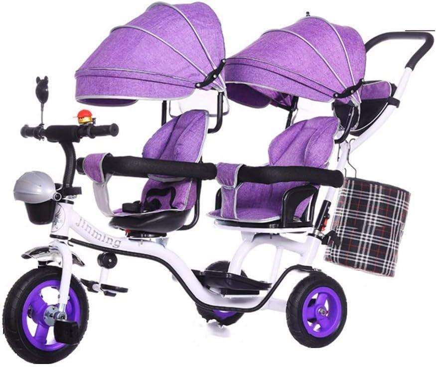 TZZ Triciclo del bebé del asiento doble, ajustable con dosel, arnés de seguridad, la absorción de choque infantil Cochecito de bicicletas, for el niño niños/niñas, de 7 meses - 6 años (Color : B)