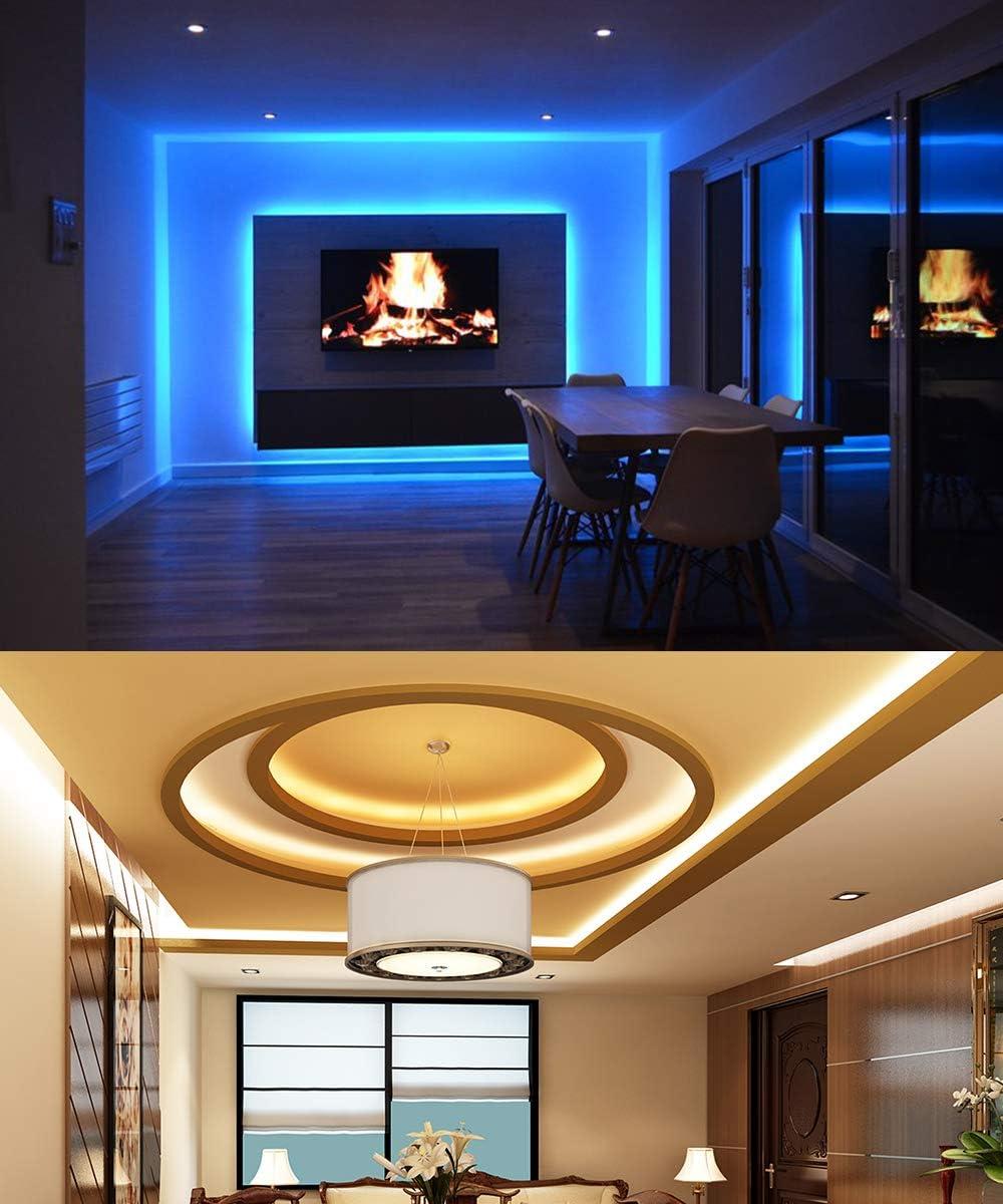MINGER LED Strip Lights, 16.4ft RGB LED Light Strip 5050 LED Tape Lights, Color Changing LED Strip Lights with Remote for Home Lighting Kitchen Bed Flexible Strip Lights for Bar Home Decoration