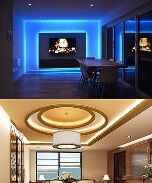 MINGER LED Strip Lights, 16.4ft RGB LED Light Strip 5050 LED Tape Lights, Color Changing LED Strip Lights with Remote for Home Lighting Kitchen Bed Flexible Strip Lights for Bar Home Decoration (Color: Remote Control, Tamaño: 16.4 ft)