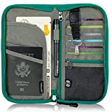 Zoppen RFID Travel Wallet & Documents Organizer Zipper Case, Passports Holder Removable Wristlet