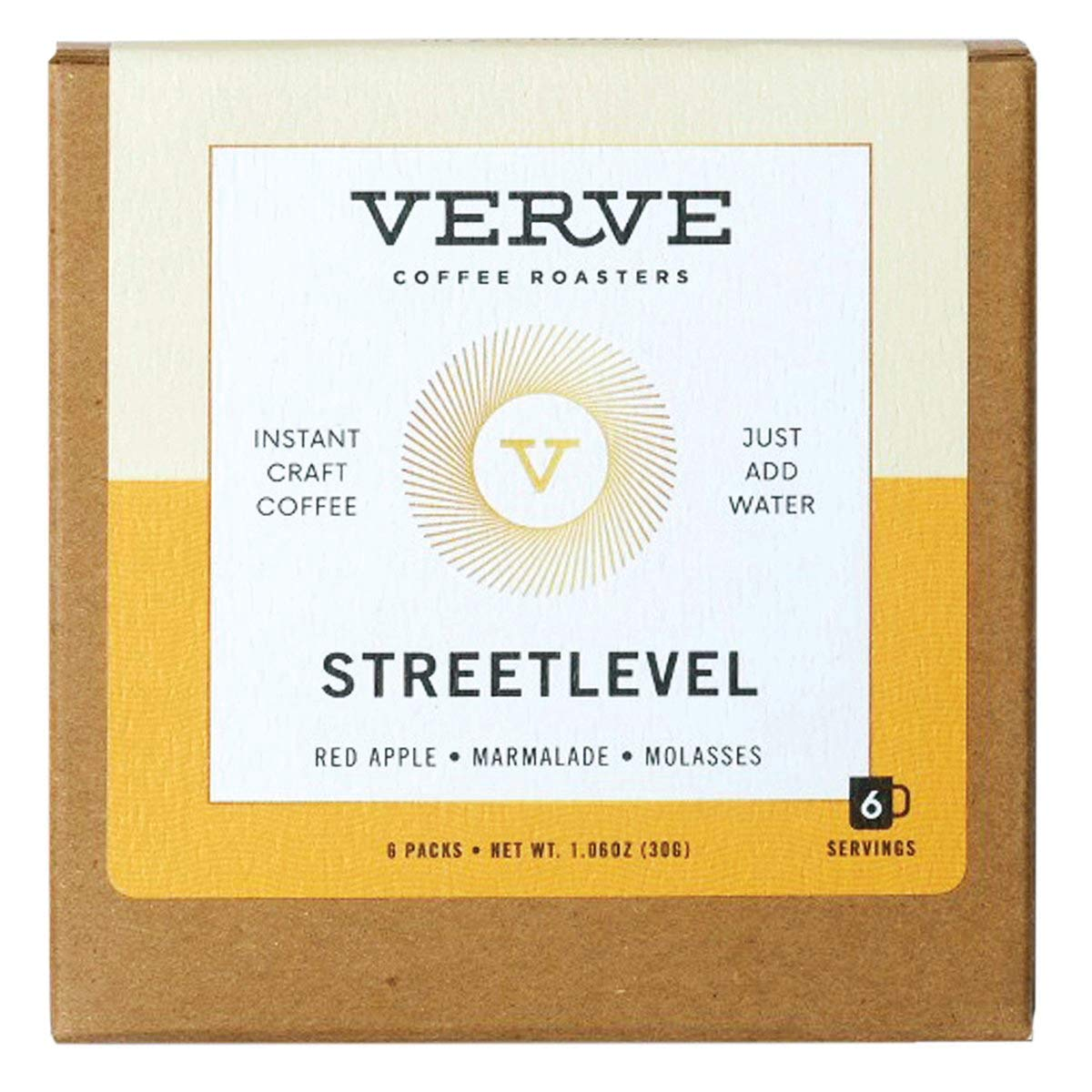 Verve Coffee Roasters Streetlevel Blend Direct-Trade Instant Craft Coffee, Tasting Notes of Red Apple, Marmalade, and Molasses