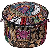 Stylo Culture Round 16 Ethnic Cotton Patchwork Embroidered Ottoman Stool Pouf Cover Black Floral 40 cm Footstool Floor Cushion Cover Ethnic Decor
