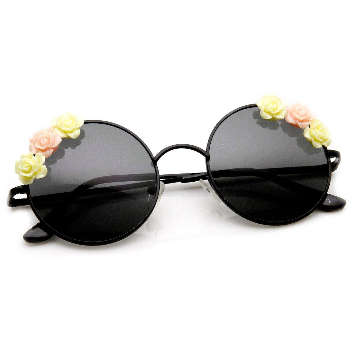 e03416e478 Amazon.com  Flower Adorned Hippie Floral Metal Circle Round Sunglasses  (Black)  Clothing