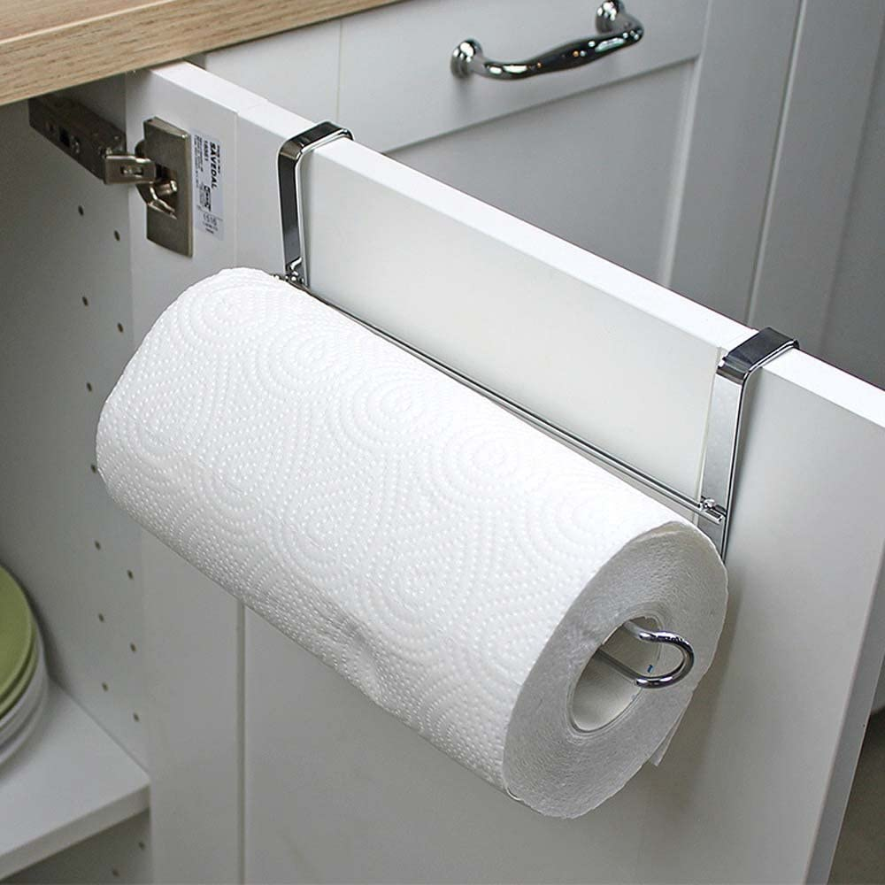Kitchen Tissue Hanger Roll Paper Towel Holder Storage Rack Cabinet Hanging Shelf
