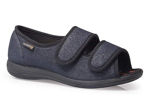 Zapatillas Mujer Linea Confort Marca CALZAMEDI, Horma Ancho 13, Altura 2cm, Tejido Confortable Color Jeans, Cierre Velcro Apertura Total y Piso Ligero ...