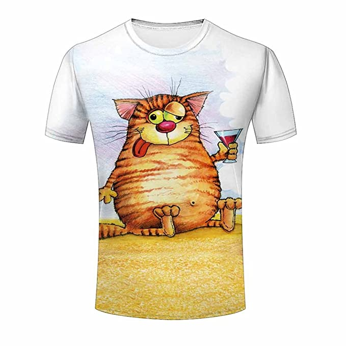 b20fbaabbc17 ZeShan Men Summer T-Shirts Cute Fat Cat Potato 3d Front Back Polyester Tops  Print