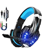 Kotion Each PS4 Gaming Headset PC mit Mikrofon LED Xbox One Headset Band Pro Stereo Kopfhörer Über-Ohr-Bass Noise Cancelling Stereo-Kopfhörer Handy spiele PC Multimedia Laptop Mac PS4 G9000 Blau