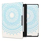 kwmobile Elegant synthetic leather case for the Kobo Aura H2O Design Indian sun in light blue white