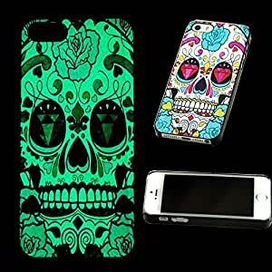 Glow Back Cover Case Luminous Effect Fluorescent in the Dark Colorful Flowers Skull for iPhone 6 4.7 5g 5s Case & Free Lcd Film