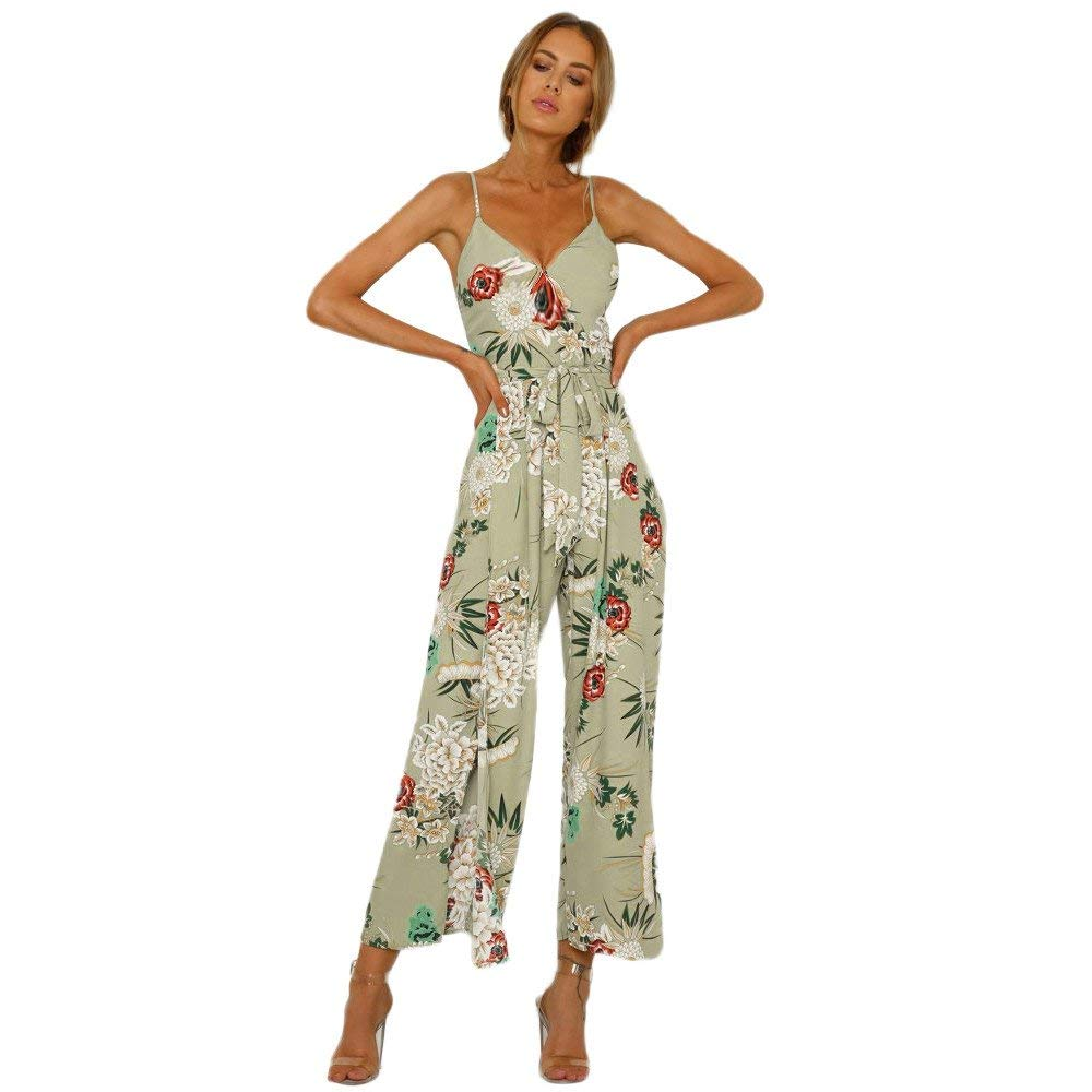 Ladies Fashion Elegant Jumpsuit Women Jumpsuits Strappy Floral Printed Slit Long Holiday Trouser Playsuits Green S by GWshop (Image #1)