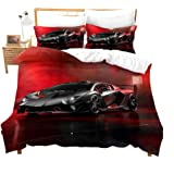 Speed Sports Car Duvet Cover Set Queen Red Sports Car Comforter Cover Cool Speed Racing Car Automobile Style Quilt Cover Kids