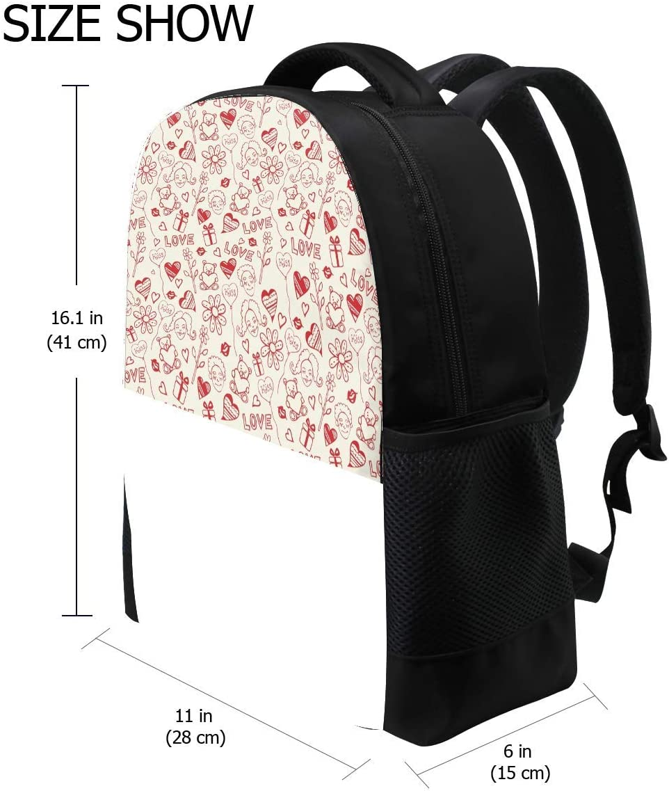 Heart Drawing Love Colorful Bookbag School Backpack Luggage Travel Sport Bag