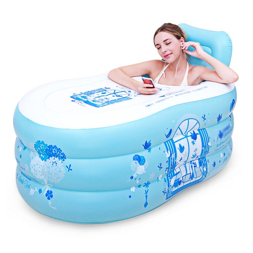Badewannen mit Belüftung Einfache aufblasbare Badewanne Badewanne für Erwachsene Haushaltsbadewanne Kunststoffwanne klappbare dicke Wanne Badinstallation Badewannen (Color : Blue, Size : Trumpet)