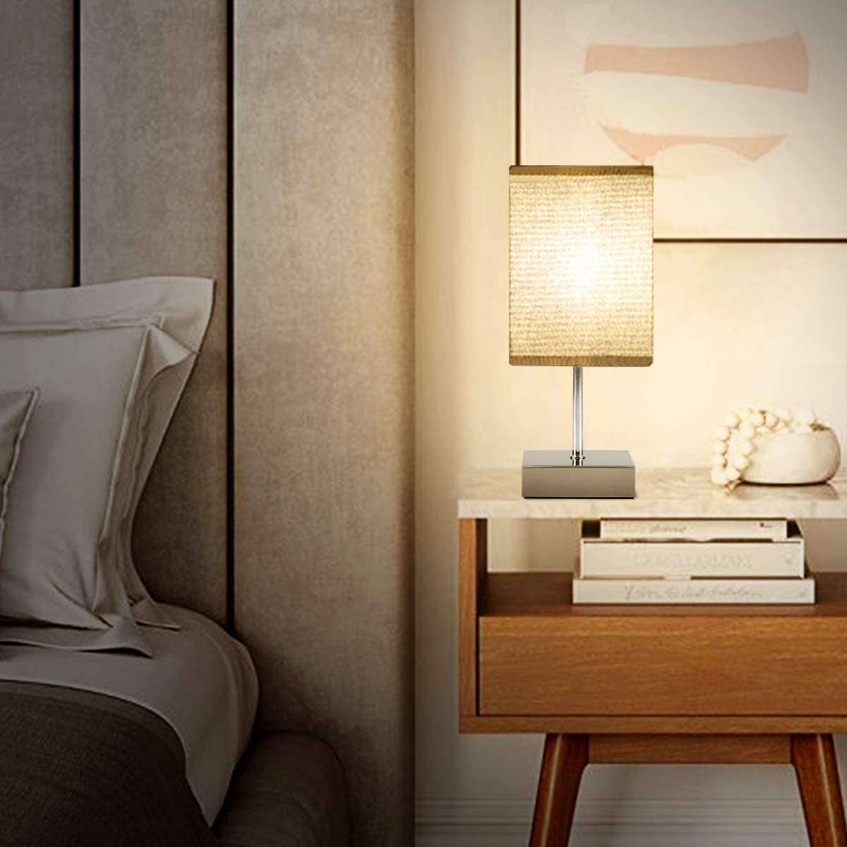 Modern Touch Lamps for Bedroom Living Room Office E12 Bulbs Included 3 Way Dimmable Bedside Nightstand Lamps with Silver Metal Base /& Grey Linen Fabric Shade Touch Control Table Lamp Set of 2