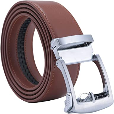 Men/'s Holeless Genuine Leather Ratchet Dressing Belts with Open Linxx Automatic Buckle-1.38 Width