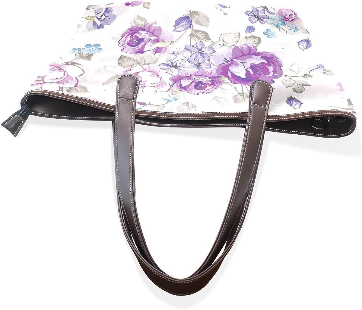 BYouLockX Leather Handbags flower Tote Satchel ShoulderBag for Women