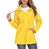 Voiakiu Plus Size regenjas voor dames, waterdicht, met capuchon, outdoor, lange windjas, lichte regenjas, S-XXL
