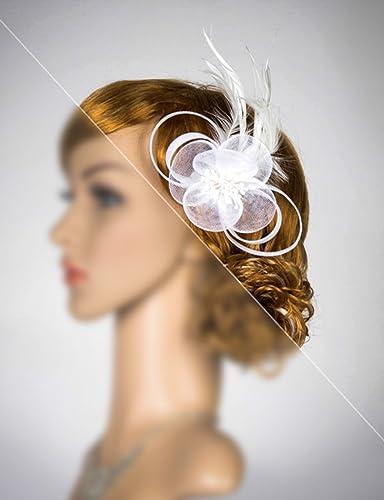 88ff58bbca553 Amazon.com  Feather Fascinator - Wedding Feather Headpiece- Bridal Headdress-  Off White Fascinator  Handmade