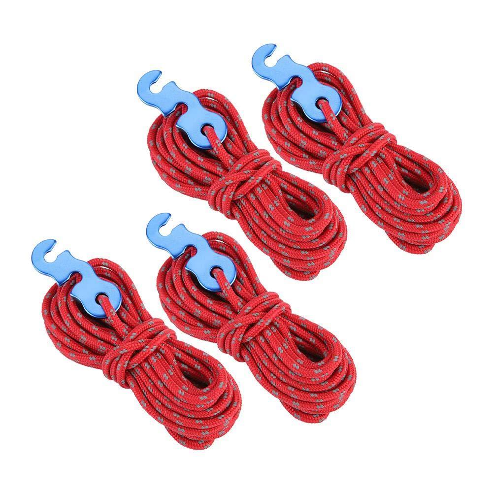 Cuerda Reflectante para Acampar 4 Unids//Set Cuerda Reflejante Cuerda de Cuerda Tienda de Reflexi/ón Cuerda para Acampar Cuerda con S-Ring Hebilla Gancho