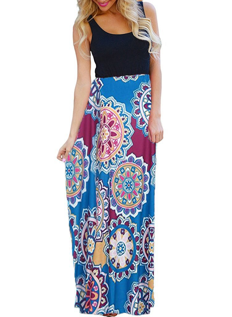 OURS Women's Sexy Ethnic Style Sleeveless Floral Print Bohemian Tank Dresses Geometric Party Evening Long Maxi Dresses (X-Pattern4, M)