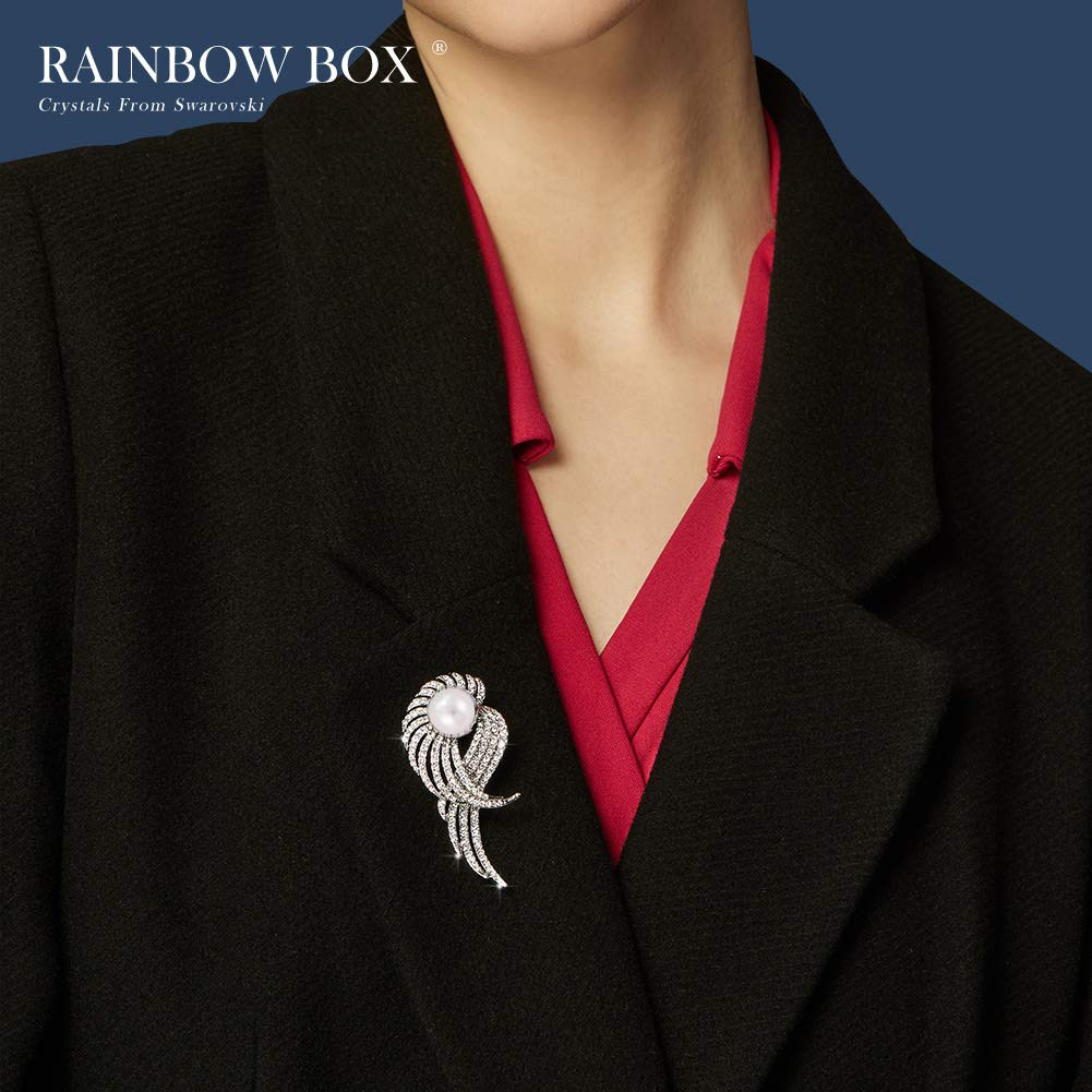 Rainbow Box Pearl Brooch Pins with Swarovski Crystal, Rhinestone Women's Brooches & Pins by RAINBOW BOX (Image #4)