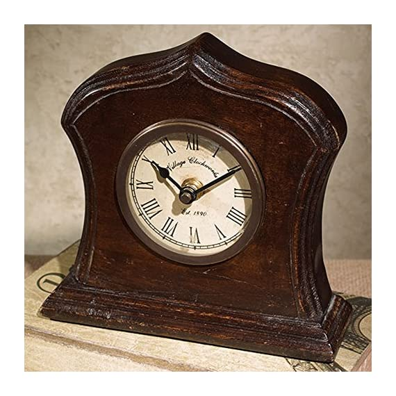 Bristol Village Clockworks Replica 6 x 6 Wooden Table Top Analog Clock - Made of wood material with an aged, distressed appearance Analog clock measures approximately 6 x 6 x 2 inches Functioning clock with Roman Numeral style clock face; Requires 1 AA battery; NOT included - clocks, bedroom-decor, bedroom - 61 CDrcfxmL. SS570  -