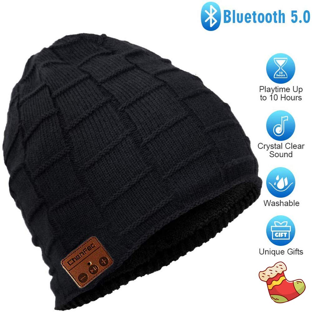 HONGYU Fashion Wireless Bluetooth Beanie hat Headphone Winter Warm Soft Knit Cap with Wireless Headphone Speaker Mic Hands Free for Iphone Android Cell Phones , Christmas Gifts – Black