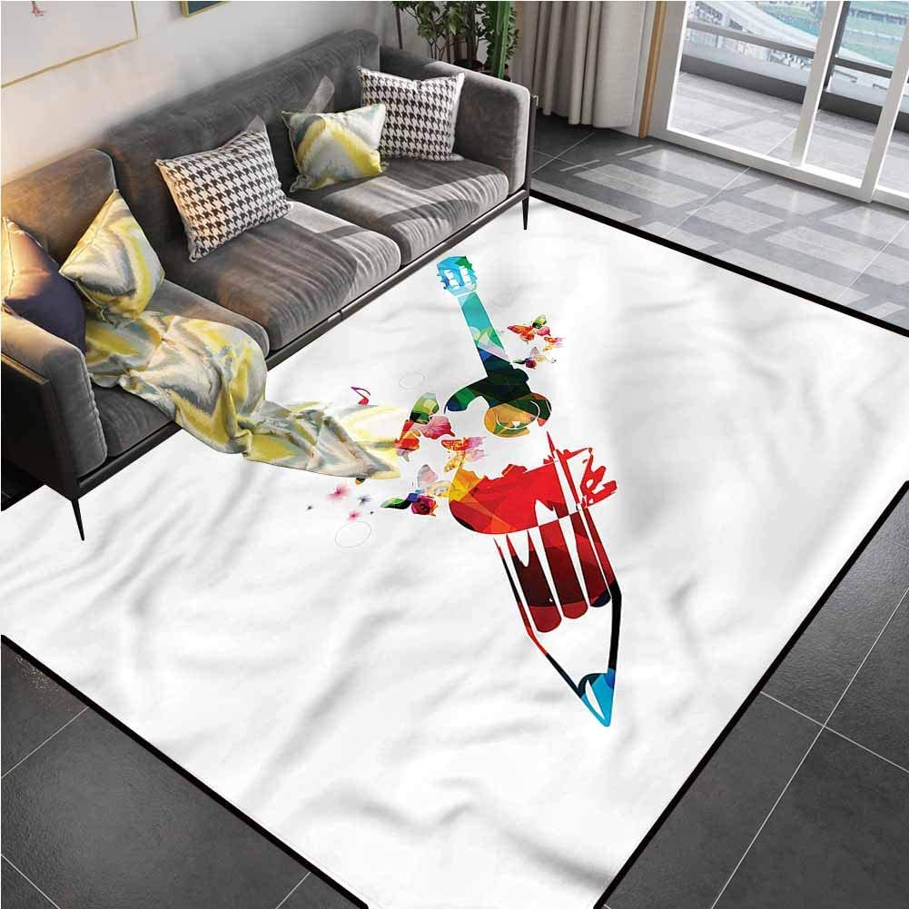 """Area Rug Print Large Rug Mat Art,Pencil Butterfly Notes Harmony Office Chair mat for Carpet for Kids Yoga Living Room Home Decor Rugs 5'7""""x8'6"""""""