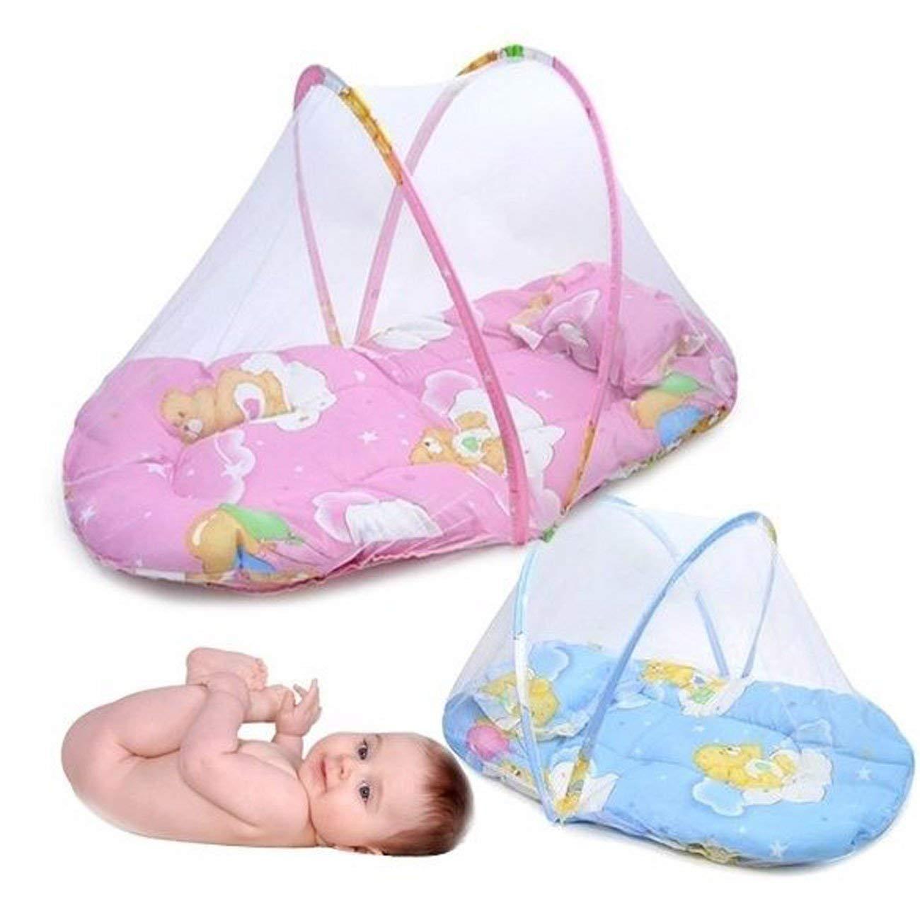 Rosa baby Infant Tragbare faltbare Reise Bettw/äsche Krippe Baldachin Moskitonetz Zelt mit Kissen Reisebett//Travel-cot Baby Luxe Reisebettzelt inklusive Schlafmatte