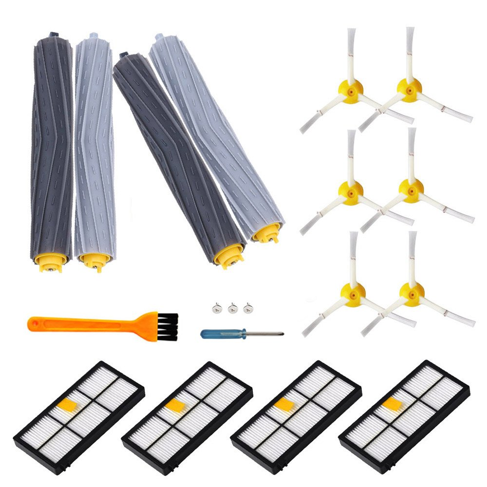 15PCS Replacement Parts for iRobot 800&900 Vacuum Cleaner Series-Matched 890 891 894 860 861 880 870 980 960 964-Include 2 Pairs Debris Roller,4 Filters,6 Side Brushes and 1 Free Filter Brush